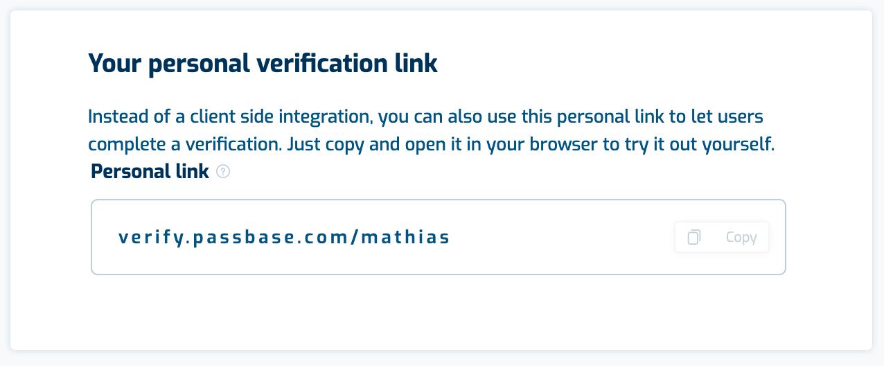 Passbase developer link
