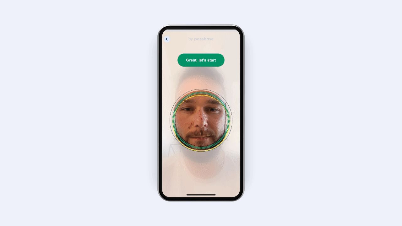 Passbase_verification_flow_demo_gif with a man with a beard in the middle of a circle on a smartphone screen. The man moves his face forwards and backwards and scans his ID card to verify his identity.