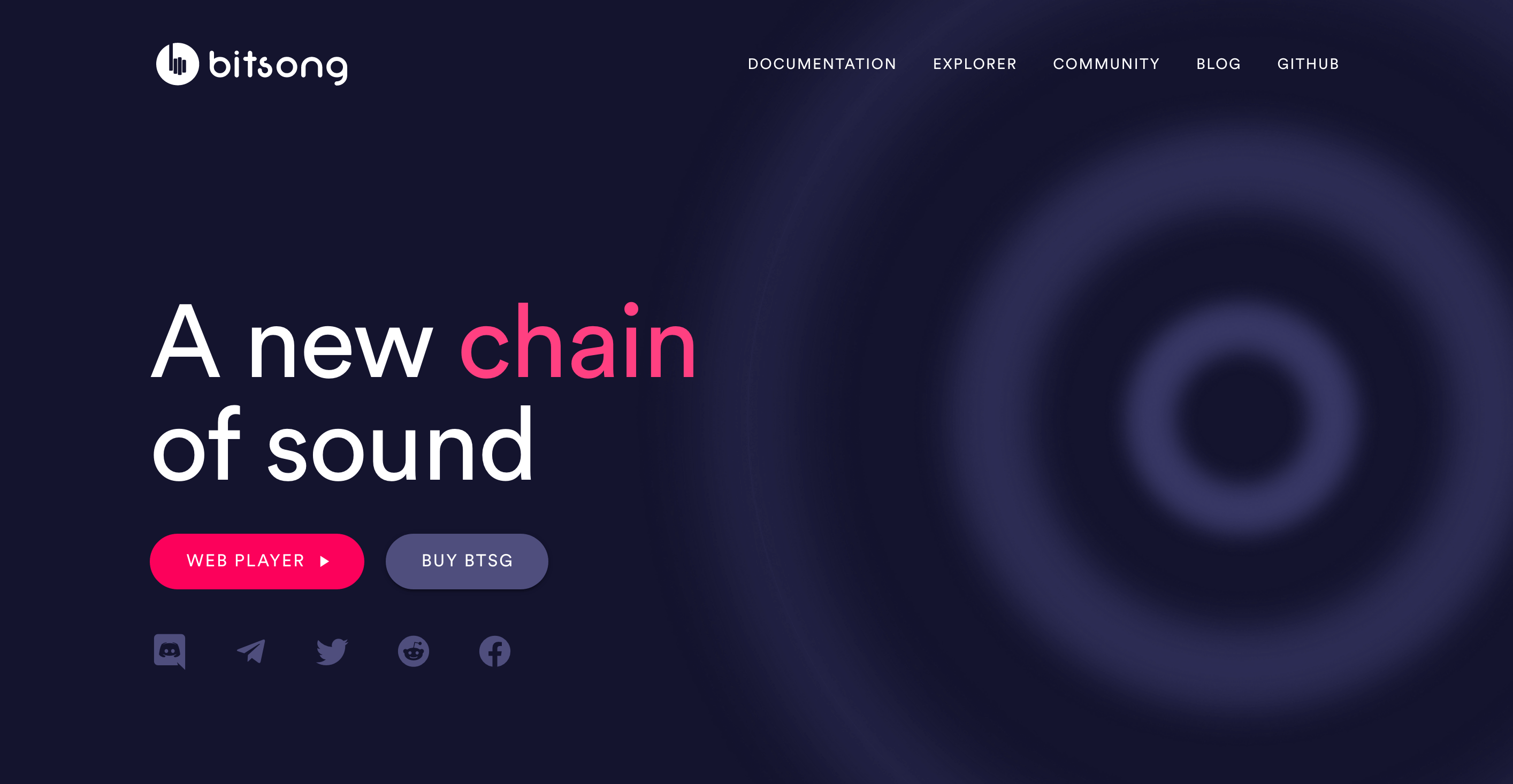 Home page for Bitsong, a blockchain platform for music artists to share their work and get paid directly by fans. Dark purple background with pink text. Header text: A new chain of sound. Web player button. Buy BTSG button. Favicons for discord, telegram, twitter, reddit, and facebook.