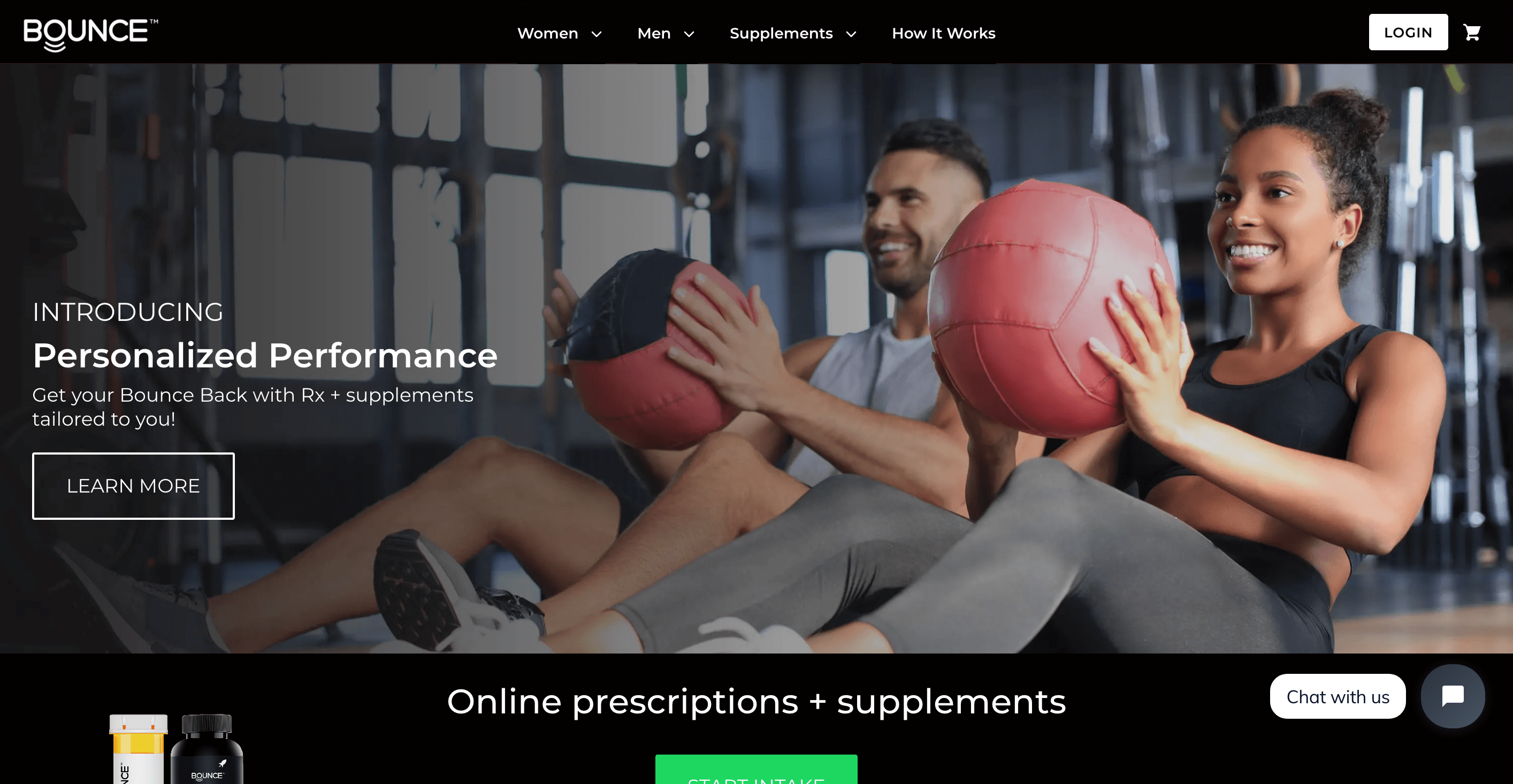 Home page for Bounce Health in the US serving customers who would like medical services and products for sexual performance. Banner image with a smiling black woman holding a red medicine ball and a white man doing the same behind behind her.
