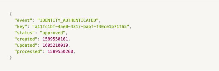 Passbase identity authenticated webhook displaying data format