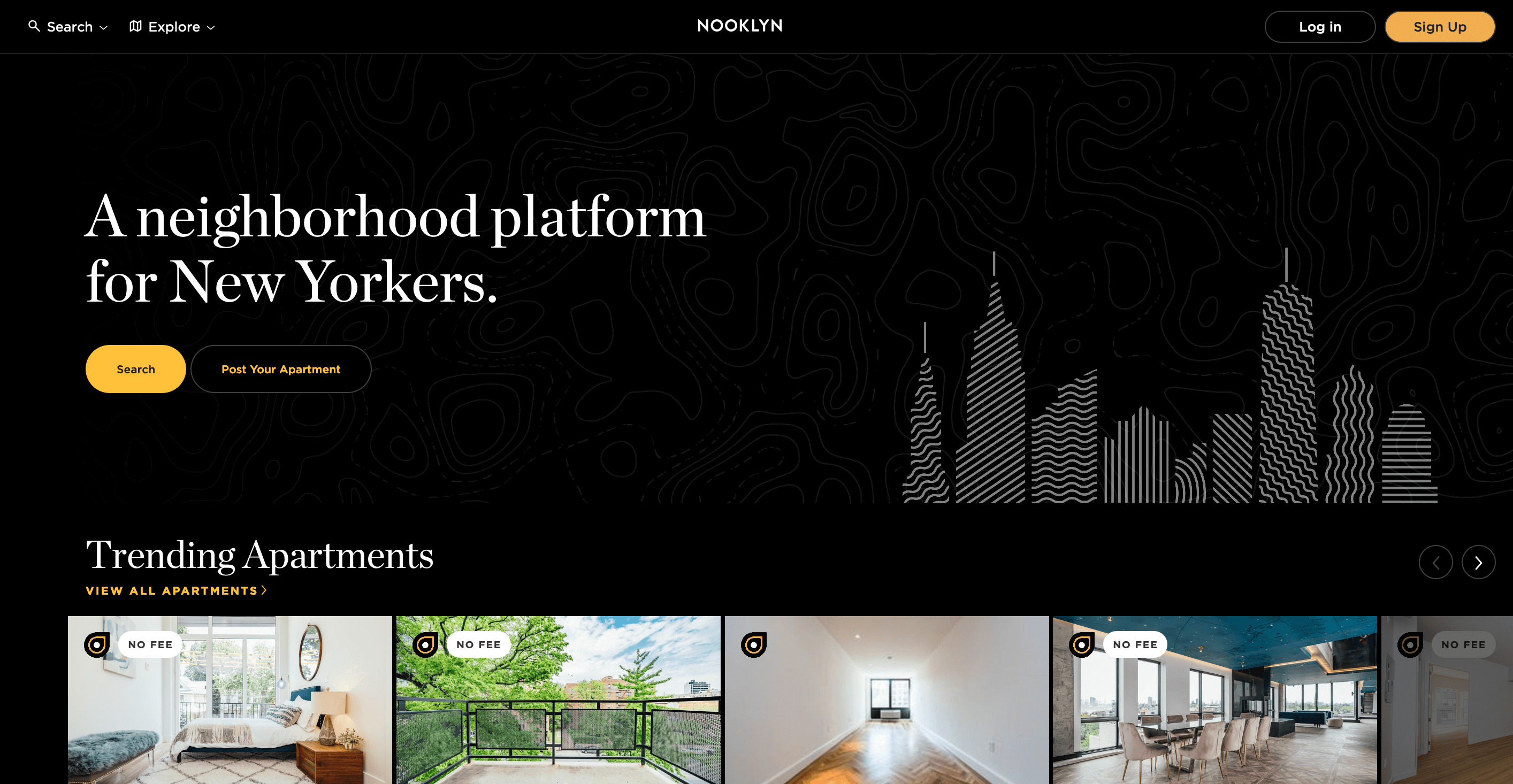 Home page for New York rental platform Nooklyn. Black background with a gallery of apartment listings.