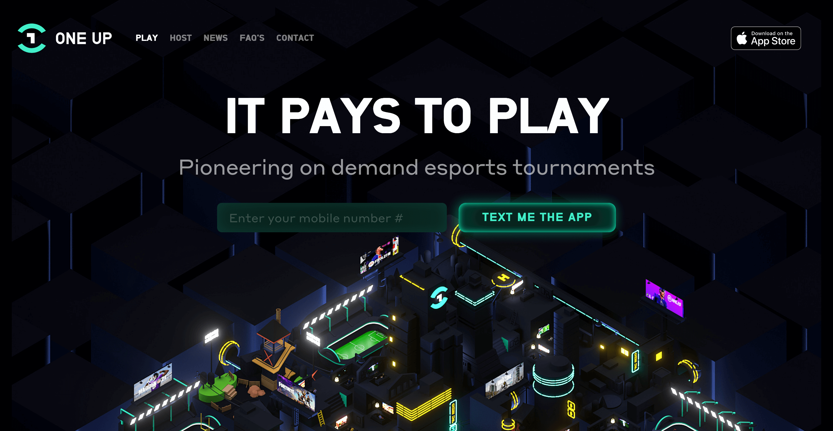 """Home page for 1-vs-1 eSports gaming platform One Up. Dark background with a 3D visual of rooms with screens and the one up logo. Header line that says """"It Pays to Play"""""""