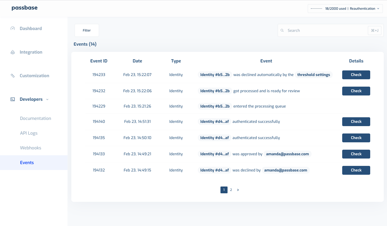 Passbase dashboard displaying a list of identity verification and authentication events with time stamps