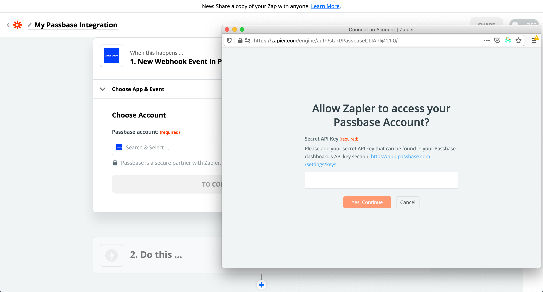 Zapier-popup-asking-for-passbase-secret-api-key
