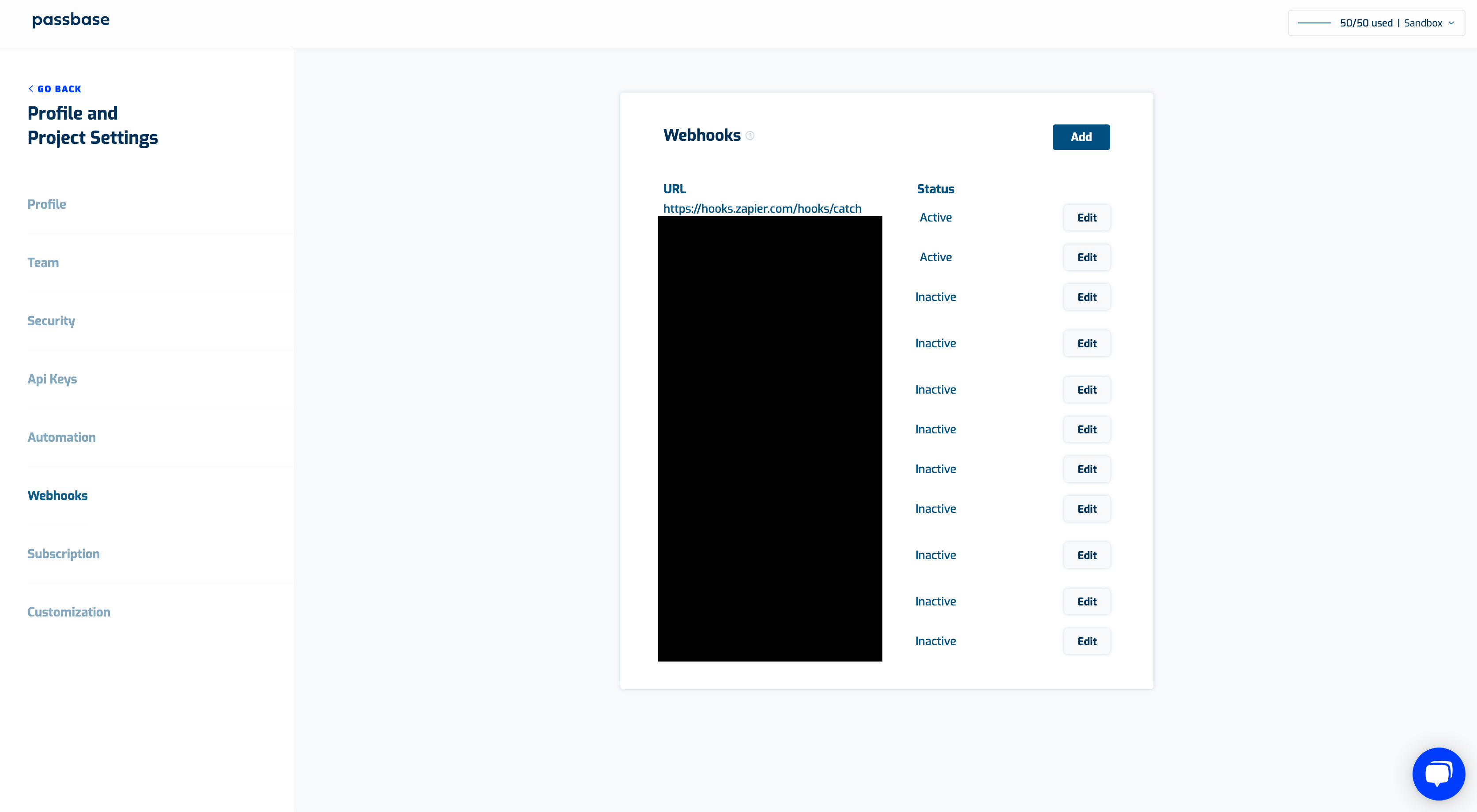 Passbase admin table of blacked out webhooks with active and inactive setting options