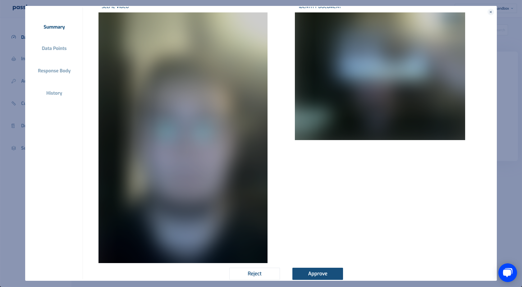 A screencap of the authentication review dashboard with a blurred out face and document