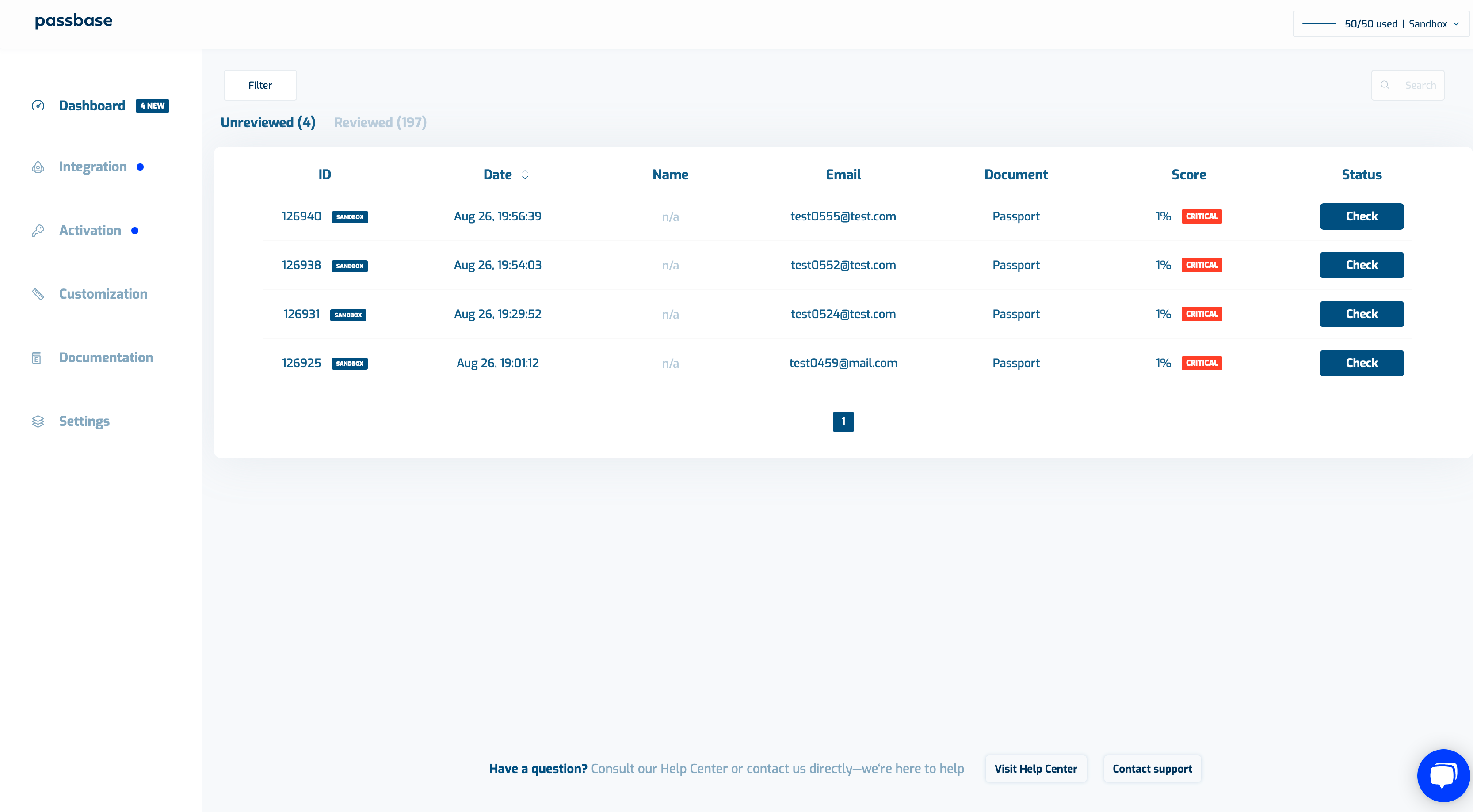 Passbase dashboard with verifications and a check button that can be clicked