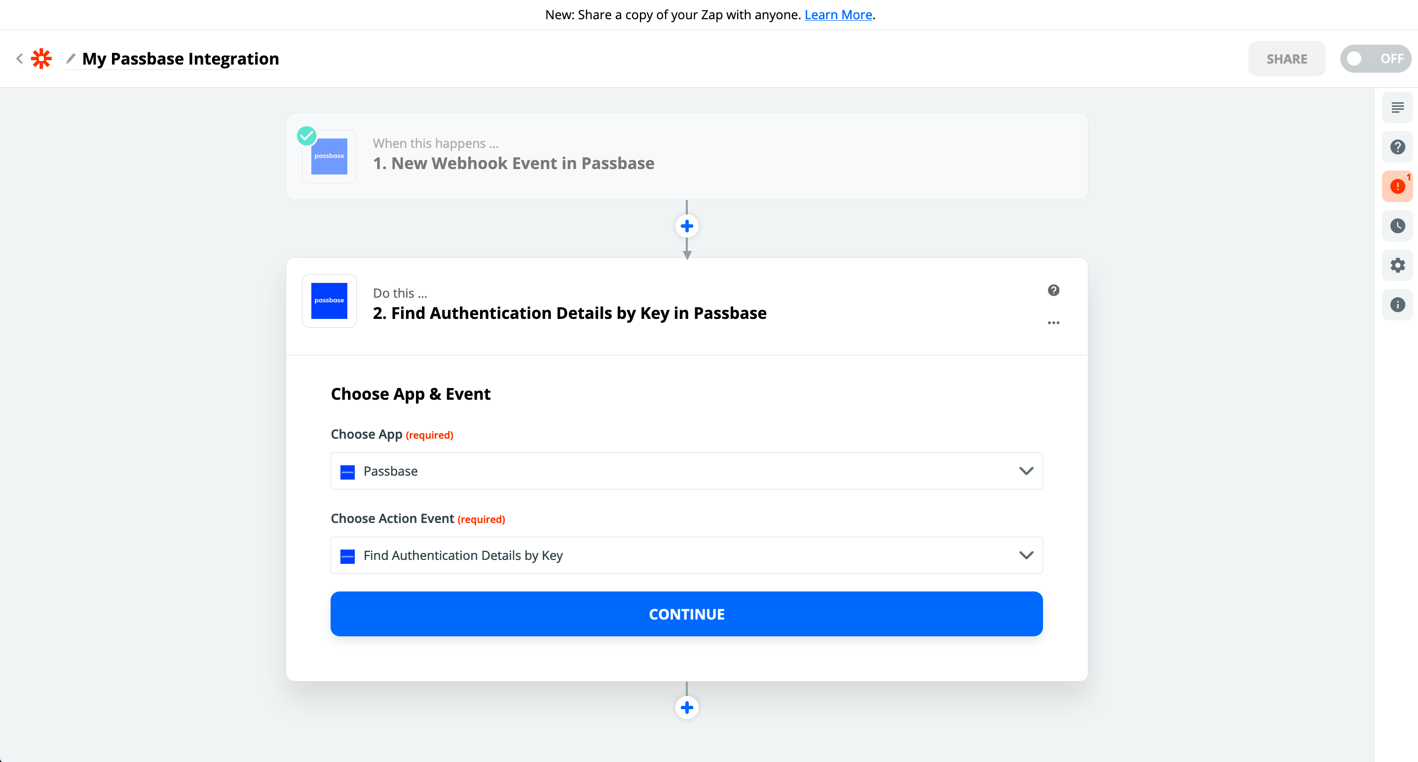 Create an action on Zapier with a Passbase app event - blue button with continue
