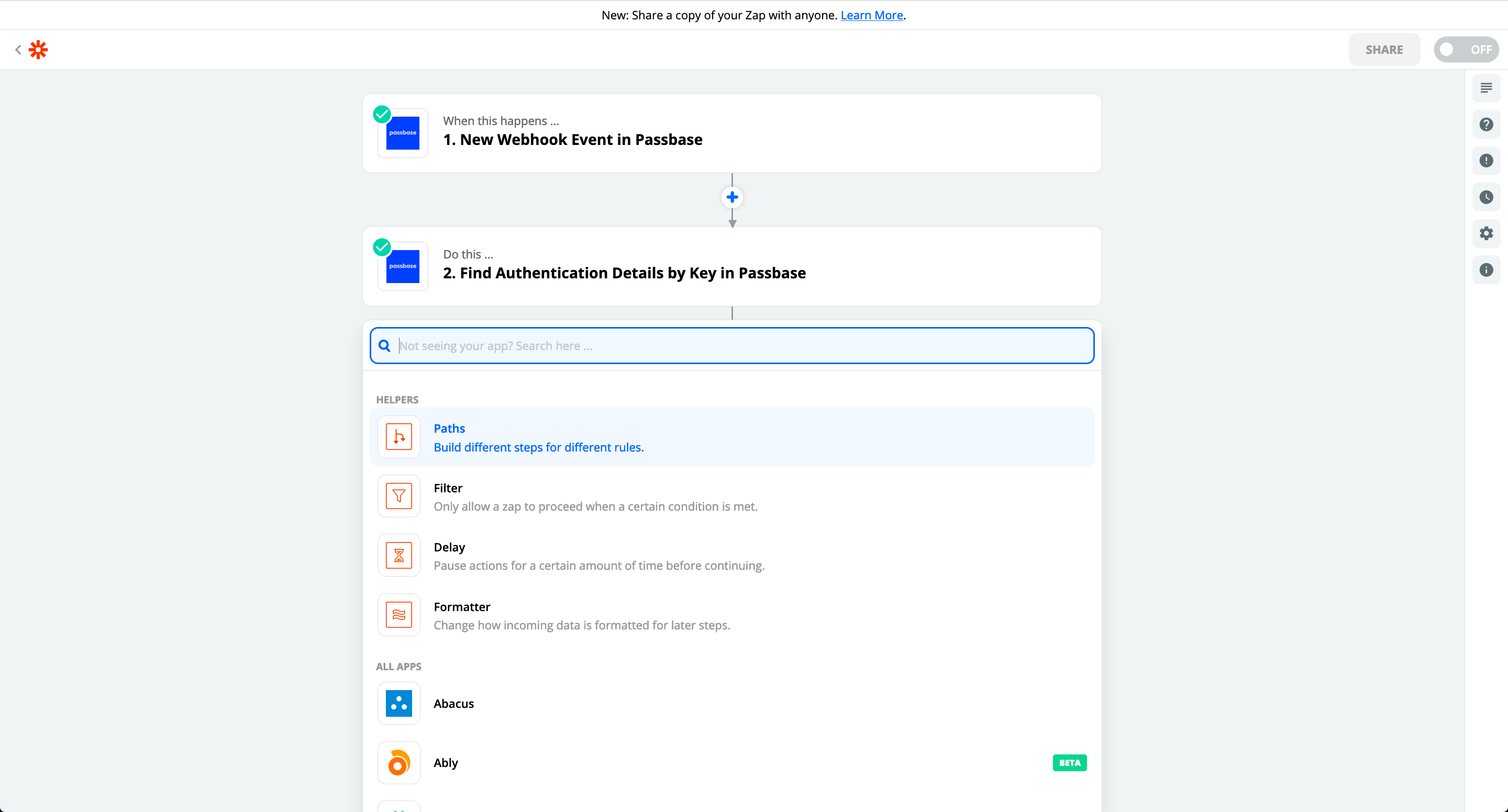 A Zapier screenshot of additional automation workflow possibilities with Passbase